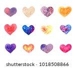 set of watercolor hearts.... | Shutterstock . vector #1018508866