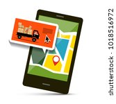cell phone with map and van... | Shutterstock .eps vector #1018516972