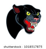 portrait of a grinning panther  | Shutterstock .eps vector #1018517875