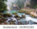 beautiful natural pools in... | Shutterstock . vector #1018522282