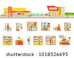 supermarket exterior and people ... | Shutterstock .eps vector #1018526695