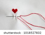 hand embroidered heart  needle  ... | Shutterstock . vector #1018527832
