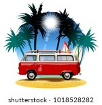Vector Cartoon Retro Camper....