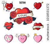 set of hearts. tattoo hearts ... | Shutterstock .eps vector #1018531372