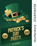 hat leprechaun  clover and... | Shutterstock .eps vector #1018536436