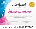 certificate template with... | Shutterstock .eps vector #1018537285
