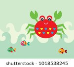 cute crab and fish greeting... | Shutterstock .eps vector #1018538245