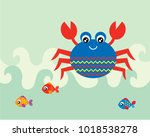 cute crab and fish greeting...   Shutterstock .eps vector #1018538278