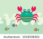 cute crab and fish greeting... | Shutterstock .eps vector #1018538302