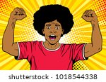 wow pop art male face. young... | Shutterstock .eps vector #1018544338