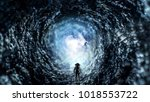 space hole and astronaut. mixed ... | Shutterstock . vector #1018553722