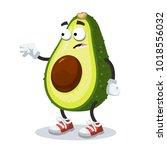 cartoon scared avocado mascot... | Shutterstock .eps vector #1018556032