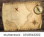 old treasure pirates' map with... | Shutterstock . vector #1018563202