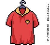 vector pixel art red shirt... | Shutterstock .eps vector #1018566622