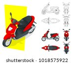 trendy electric scooter ... | Shutterstock .eps vector #1018575922