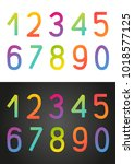 set of rainbow numbers on white ... | Shutterstock .eps vector #1018577125