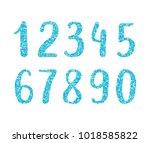 hand drawn brush glitter digits.... | Shutterstock .eps vector #1018585822