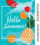 summer poster with fruits ... | Shutterstock . vector #1018587916