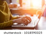 working at home with laptop... | Shutterstock . vector #1018590325