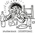 man with bottle of wine...   Shutterstock .eps vector #1018592662