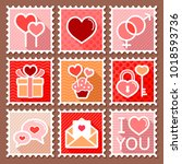 valentines day postage stamps.... | Shutterstock .eps vector #1018593736
