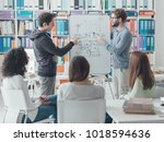 young researcher giving a... | Shutterstock . vector #1018594636