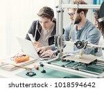 group of engineering students... | Shutterstock . vector #1018594642