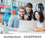 group of engineering students...   Shutterstock . vector #1018594645