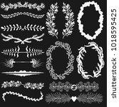 set of vector black and white...   Shutterstock .eps vector #1018595425