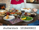 delicious turkish  greek and... | Shutterstock . vector #1018600822