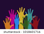 colorful hands raised. free... | Shutterstock .eps vector #1018601716