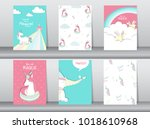 set of cute fantasy poster... | Shutterstock .eps vector #1018610968