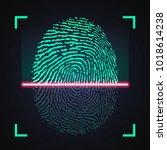 laser scanning of fingerprint ... | Shutterstock .eps vector #1018614238