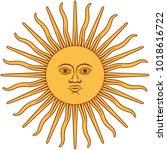 the inca sun god. inti sun of... | Shutterstock .eps vector #1018616722