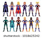 vector set of different female... | Shutterstock .eps vector #1018625242