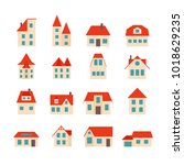 set of simple houses with... | Shutterstock .eps vector #1018629235