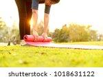 women hand rolling matte after...   Shutterstock . vector #1018631122