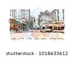 street view with downtown area... | Shutterstock .eps vector #1018633612