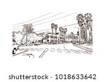 street view with downtown area... | Shutterstock .eps vector #1018633642