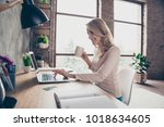 concept of having a workplace... | Shutterstock . vector #1018634605