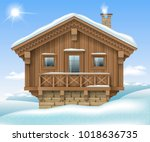 wooden small house or chalet in ... | Shutterstock .eps vector #1018636735