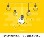 set of hanging light bulbs with ... | Shutterstock .eps vector #1018652452