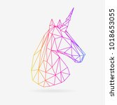 vector polygonal unicorn... | Shutterstock .eps vector #1018653055