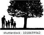 family silhouettes in nature. | Shutterstock .eps vector #1018659562