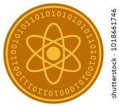 atom golden digital coin icon....   Shutterstock .eps vector #1018661746
