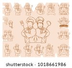 set of chef cook standing in a... | Shutterstock .eps vector #1018661986