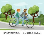 parents with child riding... | Shutterstock .eps vector #1018664662