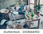 man  party maker having... | Shutterstock . vector #1018666402