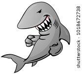 cartoon shark jumping out of... | Shutterstock .eps vector #1018672738