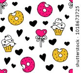 cute hearts and love sweets... | Shutterstock .eps vector #1018673725
